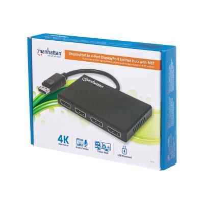 Manhattan DisplayPort to 4-Port DisplayPort Splitter Hub with MST - video/audio splitter - 4 ports  Function  HDCP 2.2  packaging  type: retail box. D