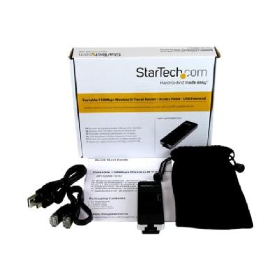 StarTech.com Wireless N WiFi Travel Router / Access Point / Repeater - wireless router - 802.11b/g/n  WRLS