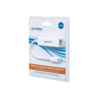 Manhattan USB-C to Gigabit (10/100/1000 Mbps) Network Adapter, White, Equivalent to Startech US1GC30W, supports up to 2 Gbps full-duplex transfer speed, RJ45, Three Year Warranty, Blister - network adapter - USB-C 3.1 Gen 1 - Gigabit Ethernet x 1 ps); 10/100/1000 Mbps Gigabit Ethernet  packaging