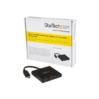 StarTech.com USB-C to 4K HDMI Multifunction Adapter with Power Delivery and USB-A Port - external video adapter - black HDOCK