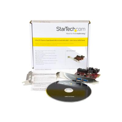 StarTech.com 4 Port PCI Express USB 3.0 Card - 2 External & 2 Internal - SATA Power - UASP Support - 2x Int Motherboard-Style Headers (PEXUSB3S2EI) - USB adapter - PCIe 2.0 - USB 3.0 x 4 0 ports to your computer case using USB 3.0 mother