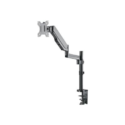 """Manhattan Monitor Desk Mount (clamp & grommet), 1 screen, 3 pivots (full motion), 10-32"""", Vesa 75x75 to 100x100mm, Gas Spring, Max 8kg, Black - mounting kit  Supports One 17IN to 32IN TV or Monitor up to 8 k"""