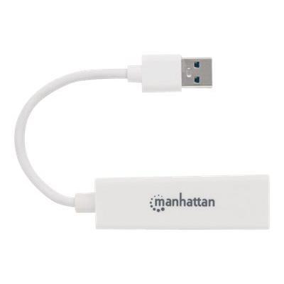 Manhattan USB-A Gigabit Adapter, 10/100/1000 Mbps Network, Ethernet, RJ45, White, Blister - network adapter  Adapter
