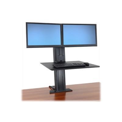 Ergotron WorkFit-SR Dual Monitor Standing Desk Workstation - mounting kit - for 2 LCD displays / keyboard / mouse Stand Desktop Workstation (bla ck)