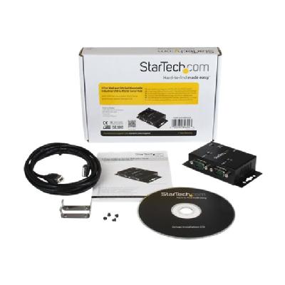 StarTech.com 2 Port Wall Mount USB to Serial Hub Adapter w/ DIN Rail Clips - serial adapter  Serial ports to any system th rough USB - USB to S
