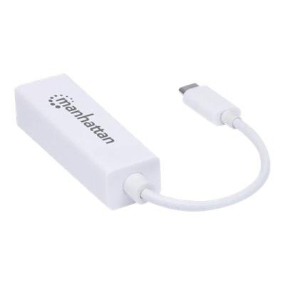 Manhattan USB-C to Gigabit (10/100/1000 Mbps) Network Adapter, supports up to 2 Gbps full-duplex transfer speed, RJ45, White, Blister - network adapter ps); 10/100/1000 Mbps Gigabit Ethernet  packaging