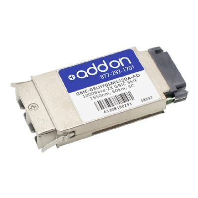 AddOn - GBIC transceiver module - Gigabit Ethernet mpatible TAA Compliant 1000Bas e-ZX GBIC Transceive