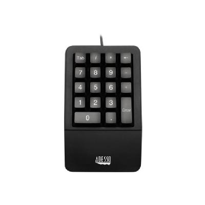 Adesso Easy-Touch AKB-618UB - keypad - black  KEYPAD MADE FROM ANTIMICROBIA L MATERIAL WITH FULL