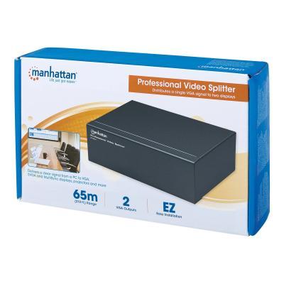Manhattan Professional Video Splitter, 2-Port, VGA, SVGA, MultiSync (Euro 2-pin plug) - video splitter - 2 ports plitter  2-port  VGA  SVGA  Mu ltiSync