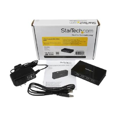 StarTech.com 4 Port Compact Black USB 2.0 Hub - Bus-powered or with Included Power Adapter - Portable Mac/PC laptop hub (ST4202USB) - hub - 4 ports