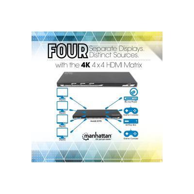 Manhattan Matrice HDMI 4K 4x4, Matrice splitter/switch avec quatre entrées et quatre sorties, un contrôle RS232, un amplificateur de bande-passante vidéo, et une télécommande, 4K@30Hz, noir - commutateur vidéo/audio x with Four Inputs and Four Ou tputs  RS232 Control