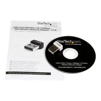 StarTech.com USB 150Mbps Mini Wireless N Network Adapter - 802.11n/g 1T1R USB WiFi Adapter - White USB Wireless Adapter - Wireless NIC (USB150WN1X1W) - network adapter ectivity to a Desktop or Lapto p Computer through U