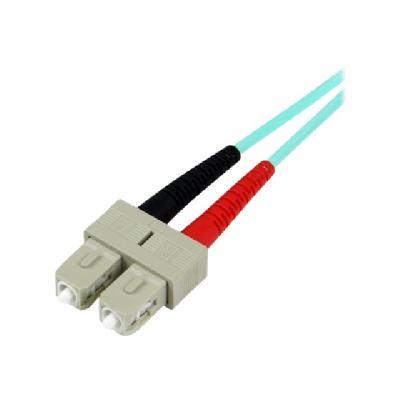 StarTech.com 1m Fiber Optic Cable - 10 Gb Aqua - Multimode Duplex 50/125 - LSZH - LC/SC - OM3 - LC to SC Fiber Patch Cable - patch cable - 1 m - aqua  CABL
