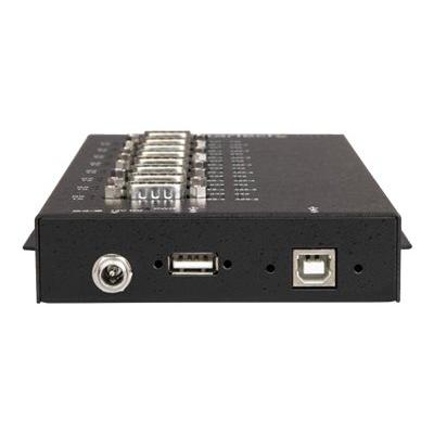 StarTech.com 8 Port Serial Hub USB to RS232/RS485/RS422 Adapter, Industrial USB 2.0 to DB9 Serial Converter Hub, IP30 Rated, Din Rail Mountable Metal Serial Hub, 15kV ESD Protection - 6ft Locking Cable Incl (ICUSB234858I) - serial adapter - USB 2.0 - RS-232/422/485 x 8 - TAA Compliant 5kV Level 4 ESD - IP30 rating Metal USB to serial