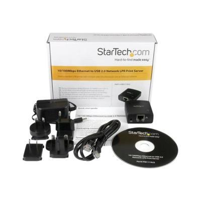 StarTech.com 10/100Mbps Ethernet to USB 2.0 Network Print Server - Windows 10 - LPR - LAN USB Print Server Adapter (PM1115U2) - print server - USB 2.0 - 10/100 Ethernet R PRINT SERVER
