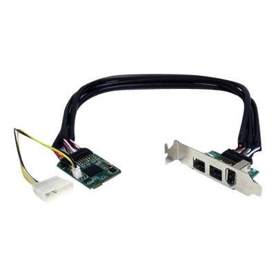 StarTech.com 3 Port 2b 1a 1394 Mini PCI Express FireWire Card Adapter - FireWire adapter - PCIe Mini Card - FireWire 800 - 2 ports + 1 x FireWire - MPEX1394B3 - FireWire adapter - PCIe Mini Card - 2 ports ress FireWire Card Adapter FireWire 800)
