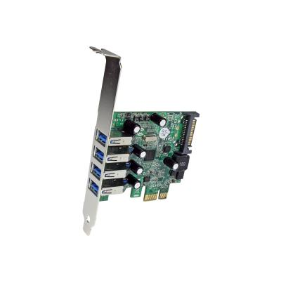 StarTech.com 4-Port PCI Express SuperSpeed USB 3.0 Controller Card with UASP - USB 3.0 Expansion Card with SATA Power (PEXUSB3S4V) - USB adapter - PCIe - USB 3.0 x 4 o a low profile or standard co mputer  through PCI