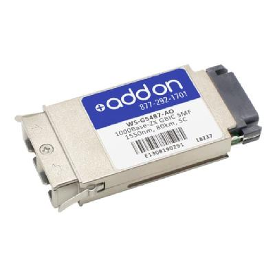AddOn Cisco WS-G5487 Compatible GBIC Transceiver - GBIC transceiver module - GigE e TAA Compliant 1000Base-ZX GB IC Transceiver (SMF