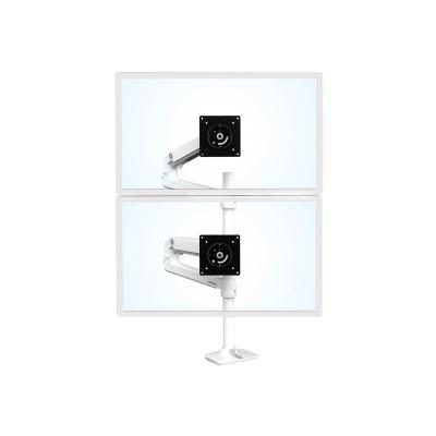 Ergotron LX Dual Stacking Arm Tall Pole - mounting kit - for 2 LCD displays e  Bright White  Gray Accents