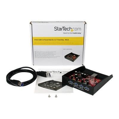 StarTech.com USB 3.0 Front Panel 4 Port Hub - 3.5in or 5.25in Bay - Front Internal 3.5 USB 3 Hub (35BAYUSB3S4) - hub - 4 ports - plug-in module