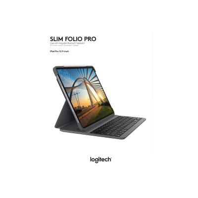 Logitech Slim Folio Pro Keyboard Case for iPad Pro 12.9-inch (3rd and 4th gen) - keyboard and folio case - graphite ad Pro 12.9-inch  Graphite  3r d and 4th generation