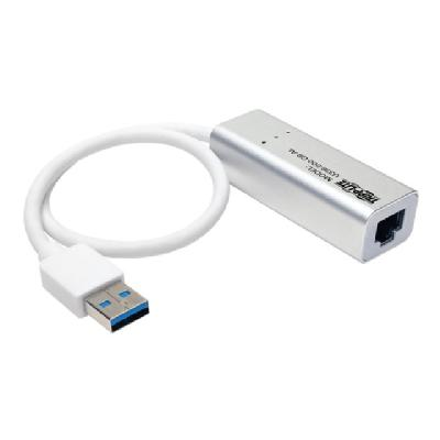 Tripp Lite USB 3.0 SuperSpeed to Gigabit Ethernet NIC Network Adapter RJ45 10/100/1000 Aluminum White - network adapter  CTLR
