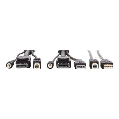 Tripp Lite DisplayPort KVM Cable Kit 4K USB 3.5mm Audio 3xM/3xM USB MM 10ft - video / USB / audio cable kit - 3 m   USB  3.5 mm Audio (3xM/3xM) + USB (M/M)  4K  4:4