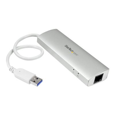 StarTech.com 3-Port USB 3.0 Hub with Gigabit Ethernet - Up to 5Gbps - Portable USB Port Expander with Built-in Cable (ST3300G3UA) - hub - 3 ports ) and a GbE port to your MacBo ok using this silver
