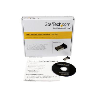 StarTech.com Bluetooth Adapter - Mini Bluetooth 4.0 USB Adapter - 50m/165ft Wireless Bluetooth Dongle - Smart Ready LE+EDR (USBBT1EDR4) - network adapter  PERP