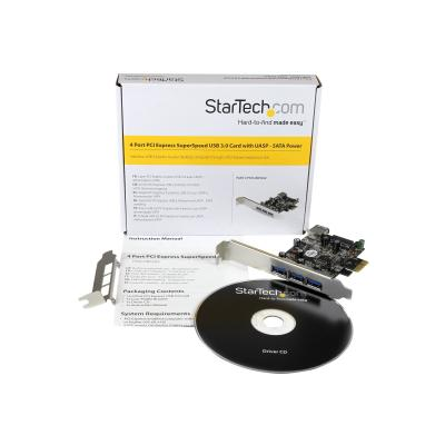 StarTech.com 4 Port PCI Express USB 3.0 Card - 3 External and 1 Internal - Native OS Support in Windows 8 and 7 - Standard and Low-Profile (PEXUSB3S42) - USB adapter - PCIe 2.0 - USB 3.0 x 4 xternal and one internal port - to your computer -