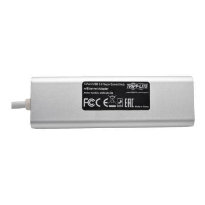 Tripp Lite USB 3.0 SuperSpeed to Gigabit Ethernet NIC Network Adapter w/ 3 Port USB Hub - network adapter - USB 3.0 - Gigabit Ethernet x 1 + USB 3.0 x 3