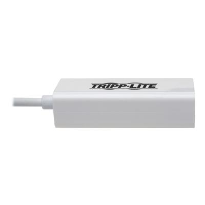 Tripp Lite USB C to Gigabit Adapter Converter USB 3.1 Gen 1 Right-Angle White 6in USB Type C to Ethernet Network Adapter - 10/100/1000 Mbps, Thunderbolt 3 Compatible, White - network adapter -ANGLE 6IN
