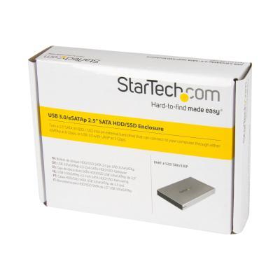 "StarTech.com eSATAp/eSATA External Hard Drive Enclosure - 2.5"" SATA III Hard Drive Enclosure - Portable HDD/SDD w/ UASP (S251SMU33EP) - storage enclosure - SATA 6Gb/s - eSATA 6Gb/s, USB 3.0 NCLOSURE W/ UASP"