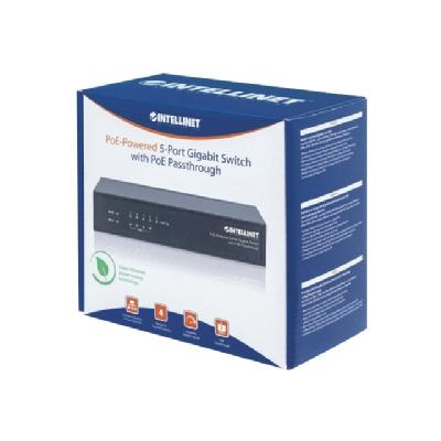 Intellinet PoE-Powered 5-Port Gigabit Switch with PoE Passthrough - switch - 5 ports E Pass-through