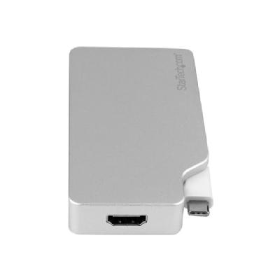 StarTech.com USB-C Multiport Video Adapter - 4-in-1 USB-C Adapter - Silver - external video adapter dapter: USB C to HDMI / VGA / mDP or DVI adapter -