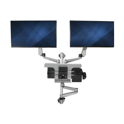 """StarTech.com Wall Mount Workstation, Articulating Standing Desk w/ Ergonomic Height Adjustable Dual Monitor Arm & Keyboard Tray, 2x 30"""" VESA Displays, Foldable Wall Mounted Sit Stand Desk - Foldable Standing Desk (WALLSTSI2) - mounting kit - for 2 LCD displays / keyboard / mouse - TAA Compliant"""