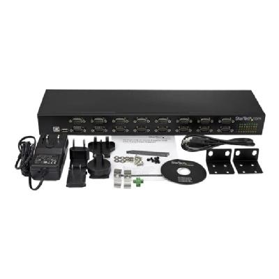 StarTech.com 16 Port USB to Serial Adapter Hub - USB to RS232 Daisy Chain - serial adapter (Australia, North America, United Kingdom, Europe) 32 serial ports in an industri al rack-mountable ch
