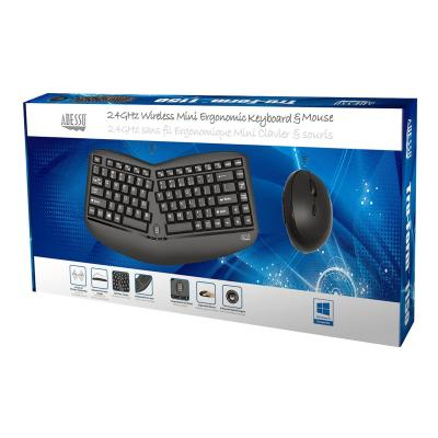 Adesso Tru-Form Media 1150 - keyboard and mouse set - with scroll wheel - US rgo  Mini Trackball Keyboard a nd Optical Ergo Mous