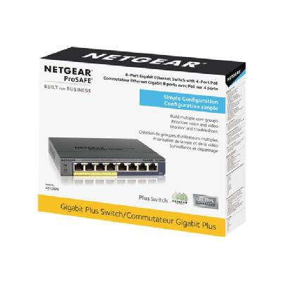 NETGEAR GS108PE 8-Port Gigabit PoE Web Managed (Plus) - switch - 8 ports - managed  PERP