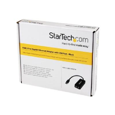 StarTech.com USB 3.0 Ethernet Adapter - USB 3.0 Network Adapter NIC with USB Port - USB to RJ45 - USB Passthrough (USB31000SPTB) - network adapter - USB 3.0 - Gigabit Ethernet