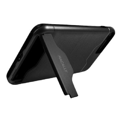 Macally back cover for cell phone h KickStand for iPhone7 - Blac k Features:Dual Laye
