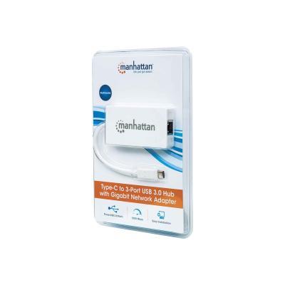 Manhattan USB-C 4-Port Hub/Dock/Converter, USB-C to 3x USB-A and Gigabit RJ45 Ports, 5 Gbps (USB 3.2 Gen1 aka USB 3.0), 1x Ethernet 10/100/1000 Mbps network, Cable 14cm, White, Blister - network adapter ps); 10/100/1000 Mbps Gigabit Ethernet  packaging
