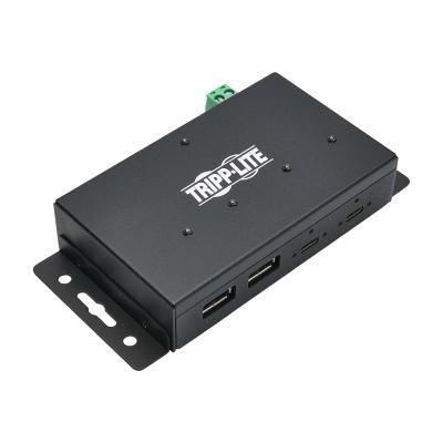 Tripp Lite 4-Port Industrial-Grade USB 3.1 Gen 2 Hub - 10 Gbps, 2 USB-C & 2 USB-A, 15 kV ESD Immunity, Iron Housing - hub - 4 ports (Australia, North America, United Kingdom, Europe) B C & 2 USB-A USB 3.1 Gen 2 10 Gbps