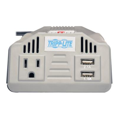 Tripp Lite Ultra-Compact Car Inverter 200W 12V DC to 120V AC 2 USB Charging Ports 1 Outlet - DC to AC power inverter + battery charger - 200 Watt  Car Inverter with Outlet and 2 USB Charging Ports