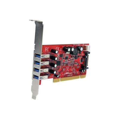 StarTech.com 4 Port PCI SuperSpeed USB 3.0 Adapter Card with SATA/SP4 Power - Quad Port PCI USB 3 Controller Card (PCIUSB3S4) - USB adapter  CTLR