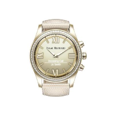 Isaac Mizrahi - gold - smart watch with strap - cream lizard RAP