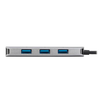 Targus USB-C Ethernet Adapter with 3x USB-A Ports - network adapter A Ports Silver