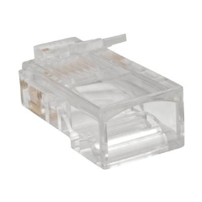 Tripp Lite RJ45 Modular Connector for Round Stranded UTP Conductor 4-Pair Cat5e, 100 Pack - network connector - clear tranded Conductor 4-pair Cat5e  Cable  100-Pack