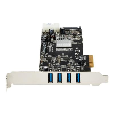 StarTech.com 4 Port USB 3.0 PCIe Card w/ 4 Dedicated 5Gbps Channels (USB 3.1 Gen 1) - UASP - SATA / LP4 Power - PCI Express Adapter Card (PEXUSB3S44V) - USB adapter - PCIe x4 - USB 3.0 x 4 ur independent channels  LP/SA TA power  and chargi