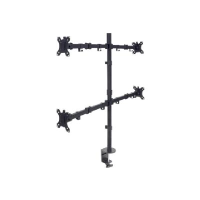 """Manhattan TV & Monitor Mount, Desk, Double-Link Arms, 4 screens, Screen Sizes: 10-27"""", Black, Stand or Clamp Assembly, Quad Screens, VESA 75x75 to 100x100mm, Max 8kg (each), Lifetime Warranty - mounting kit - for 4 LCD displays nitors up to 8 kg (17 lbs.)  B lack"""